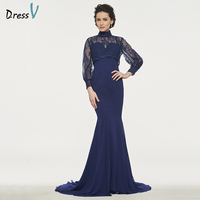 Dressv Navy Blue Mother Of The Bride Dress Mermaid Long Sleeves Button Lace Sweep Train High Neck Empire Custom Mother Dress