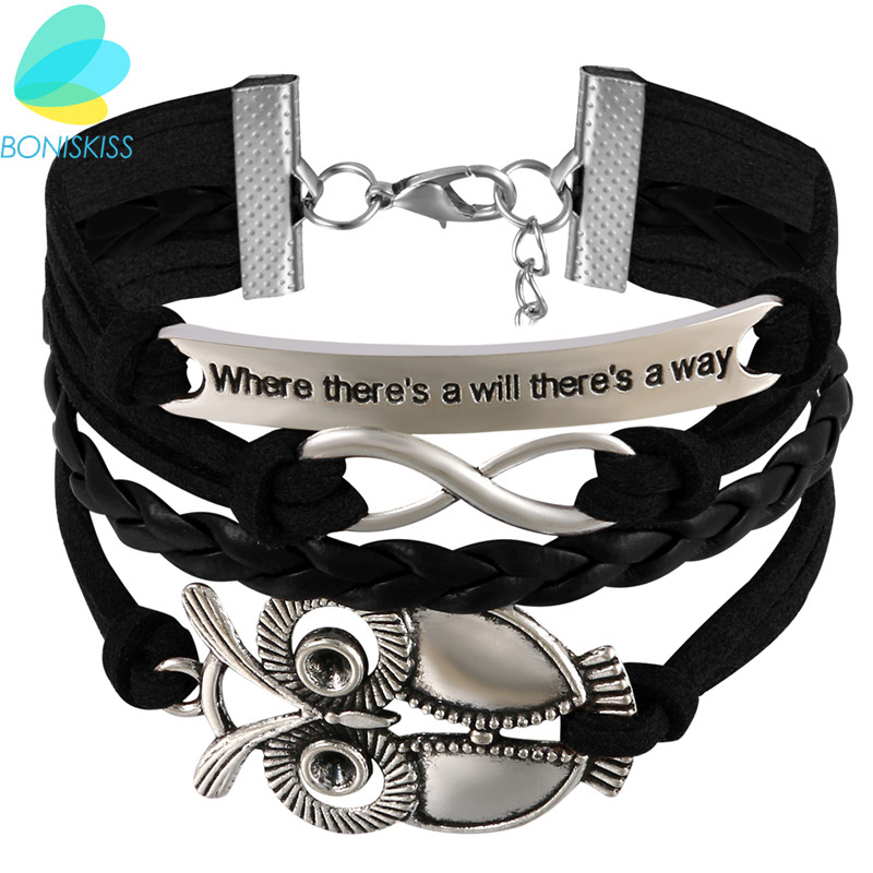 Boniskiss New Fashion Alloy Infinity Owl PU Leather Bangles Multilayer Weaves Bracelets Jewelry for Women Gift
