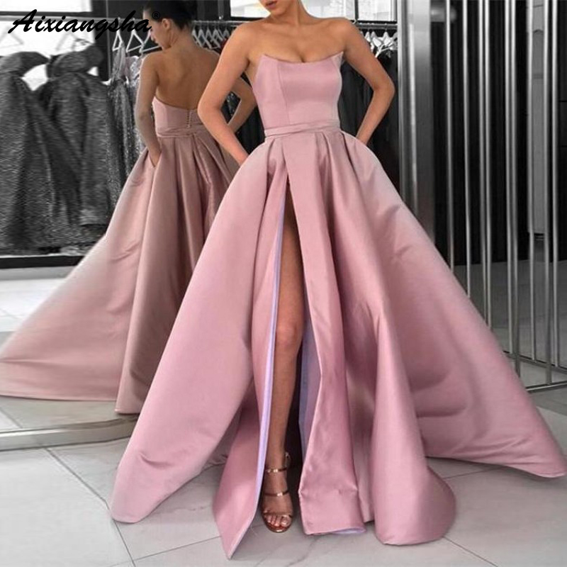 A Line Strapless High Slit Satin Burgundy Prom Dresses Long Navy Blue  Evening Gown with Pockets Formal Dress Women Elegant-in Evening Dresses  from Weddings ... fe25d70c6f70