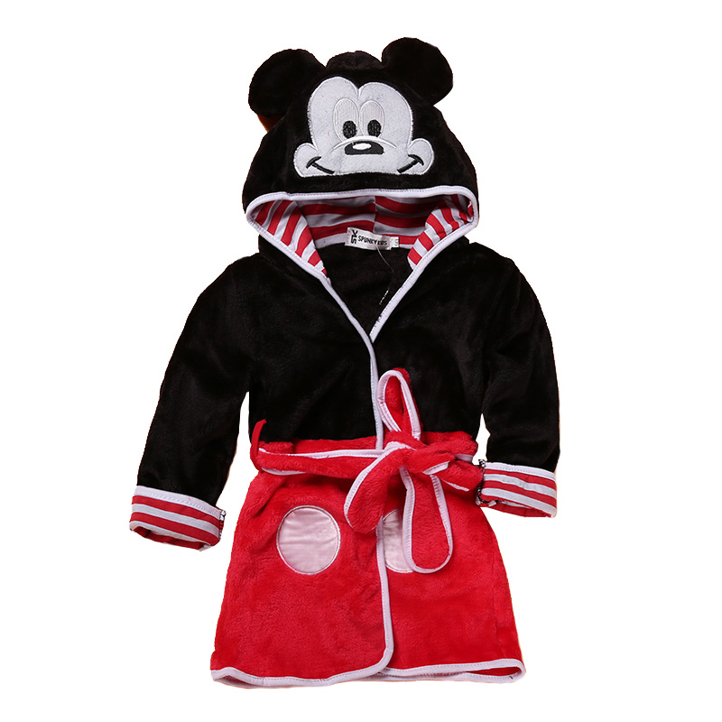 Cartoon Kids Robes Flannel Barn Boys Girls Robes Lovely Animal Hooded - Barnkläder - Foto 6