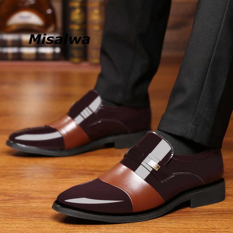 Misalwa Мужская обувь для свадьбы, оксфорды из лакированной кожи,  официальная обувь, брендовая a6a92193564