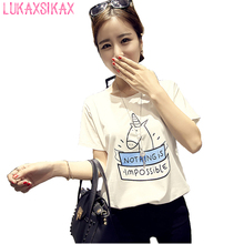 2017 корейский новый harajuku летом с коротким рукавом футболки милый мультфильм единорог напечатаны футболки женщин vetements каваи студент топ