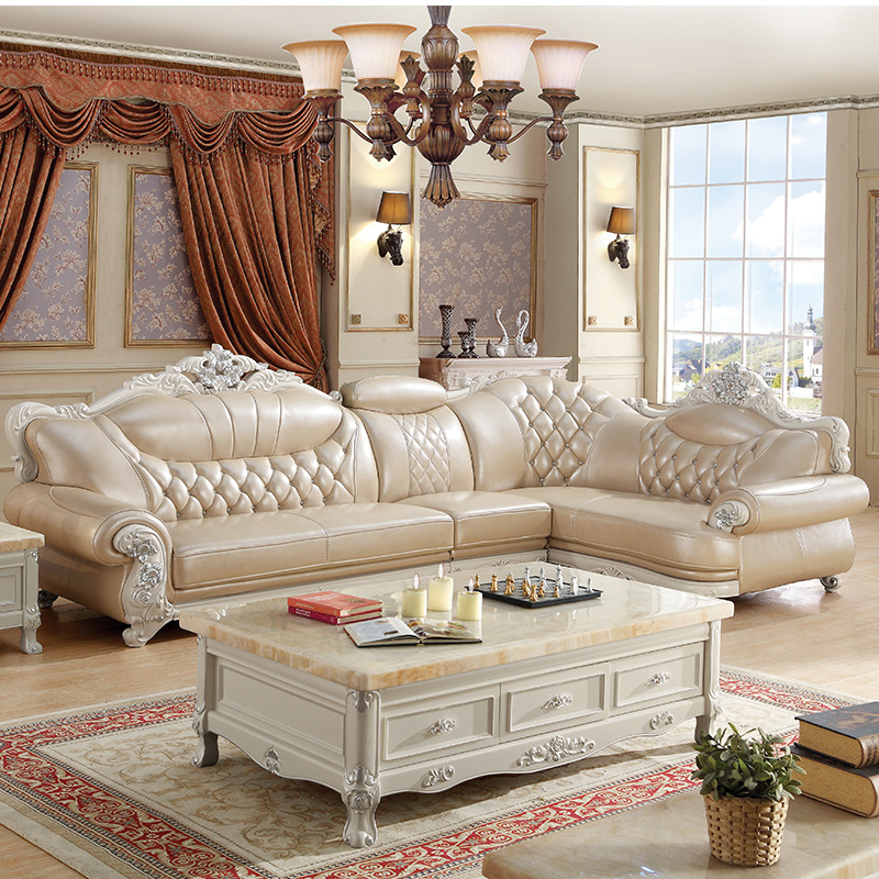 Sofas Muebles Direct Selling Living Room Furniture, Leather L Shape Sofa