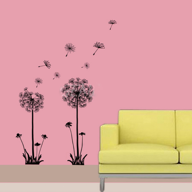 Flowers Wall Mural Black Dandelion Flowers Wall Stickers Home Decor ...