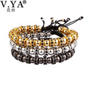 V YA 3 Color Men Girl Bracelets Bangles for Women Man Micro Inlay Zircon Beads Charms DIY Jewelry