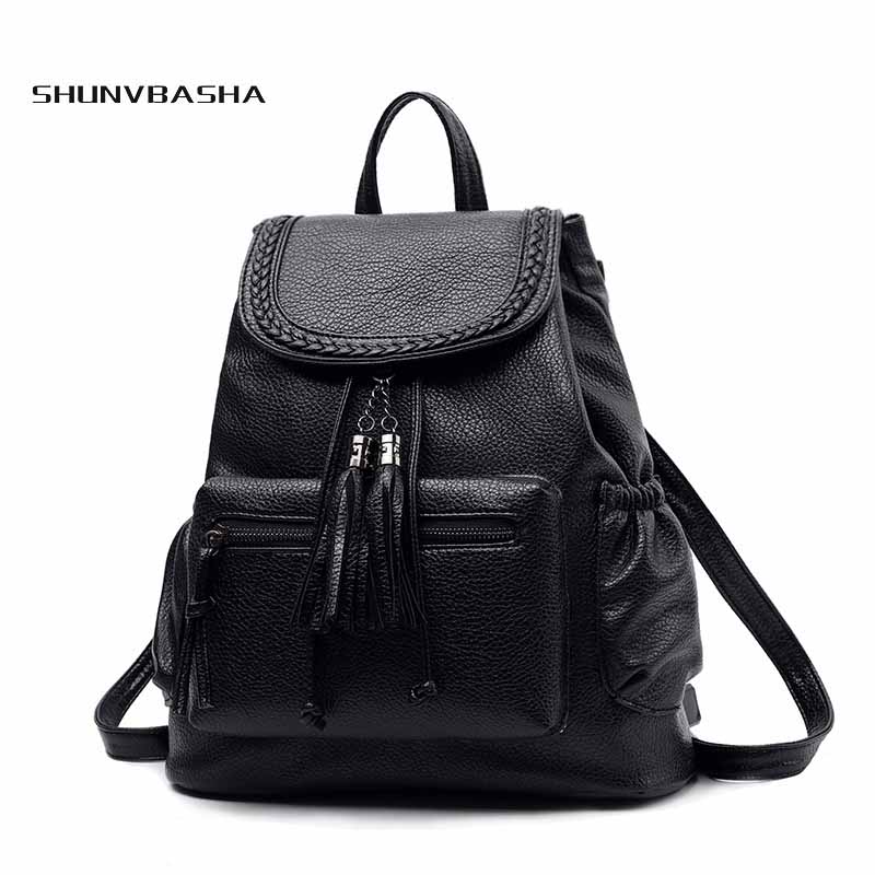 Preppy Style Cheap Travel School Backpack Artificial Leather Fashion waterproof Women Shoulder Bag With Tassel For