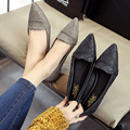 Size 35-39 Summer Comfortable Flats Women Solid Slip-on Flats Rubber Sole Pointed Toe Flats Shoes PU Black Low Heel Shoes Ladies