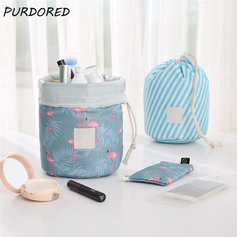 PURDORED 1 Pc Barrel Cosmetic Bag Waterproof Cylindrical Drawstring Makeup Bag Women Travel Toiletry Bag Dropshipping
