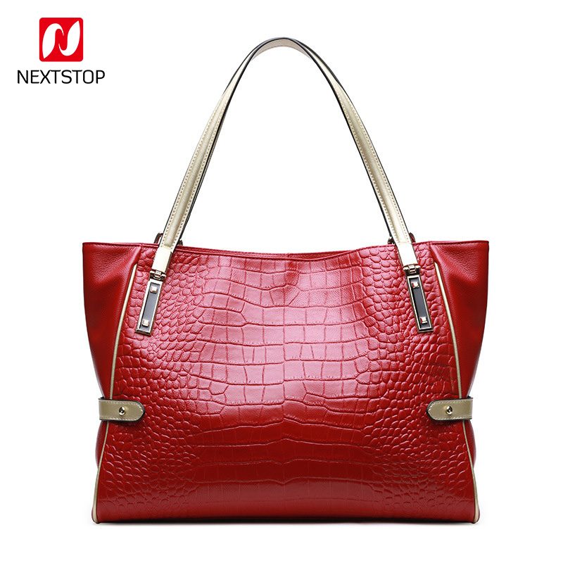 NEXTSTOP Authentic Women Crocodile Bag 100% Genuine Leather Women Handbag New Selling Tote Ms Bag Luxury Design Large Bags M1009 yuanyu new 2017 hot new free shipping crocodile leather women handbag high end emale bag wipe the gold