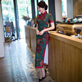 Free shipping chinese dresses Long Chinese Traditional Dress Long Qipao Cheongsam dress Faux Silk Printing Qipao Dress S-3XL
