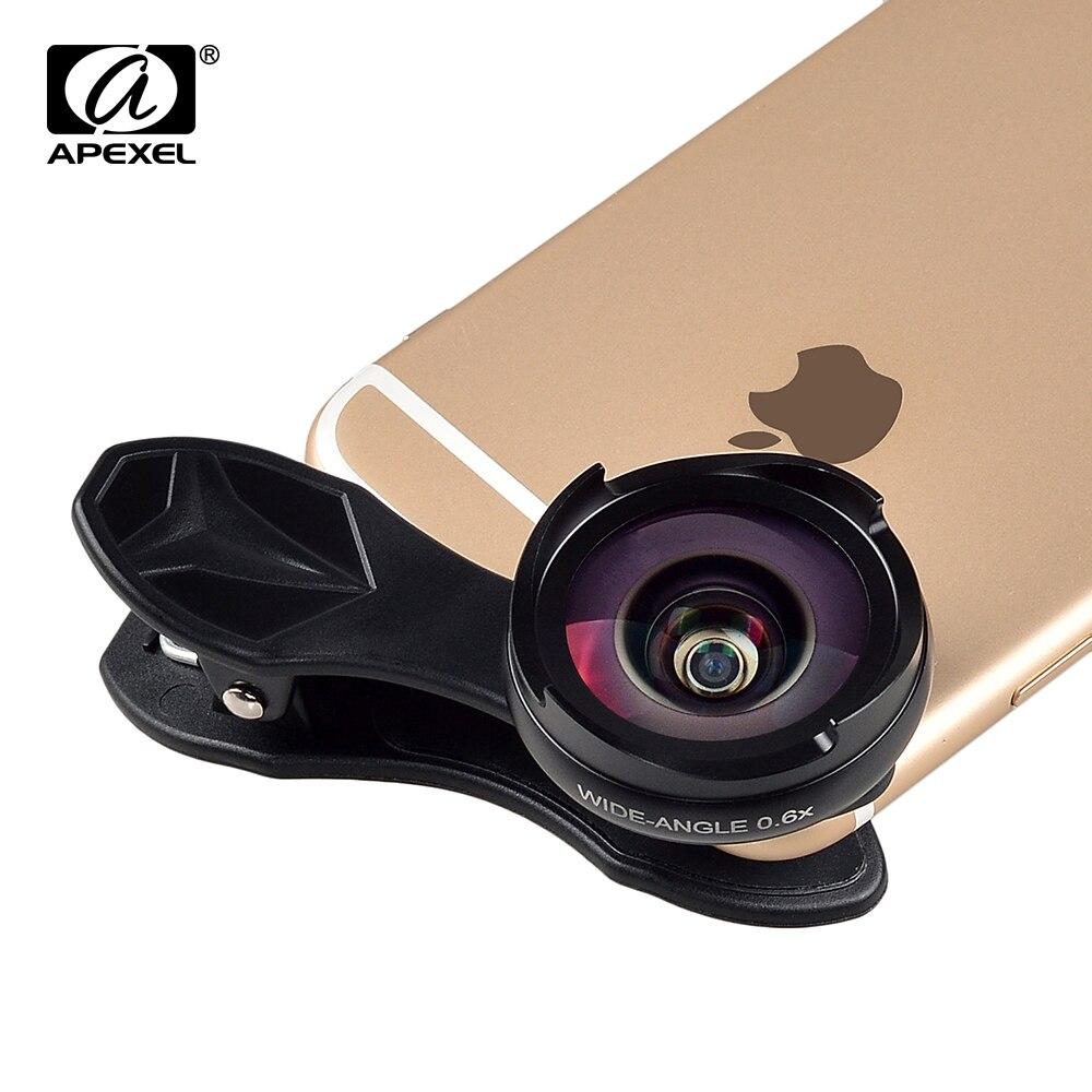 imágenes para Apexel 2017 nueva lente de la cámara kit profesional 2 en 1 de ancho angular/macro para xiaomi iphone 5s 6s 7 más oscuras no no distorsión