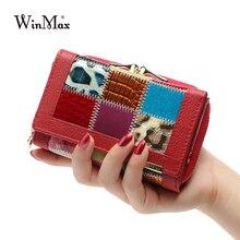 Для женщин Элитный бренд модная Натуральная кожа лоскутное бумажник Для женщин маленький кошелек женский короткие Дизайн