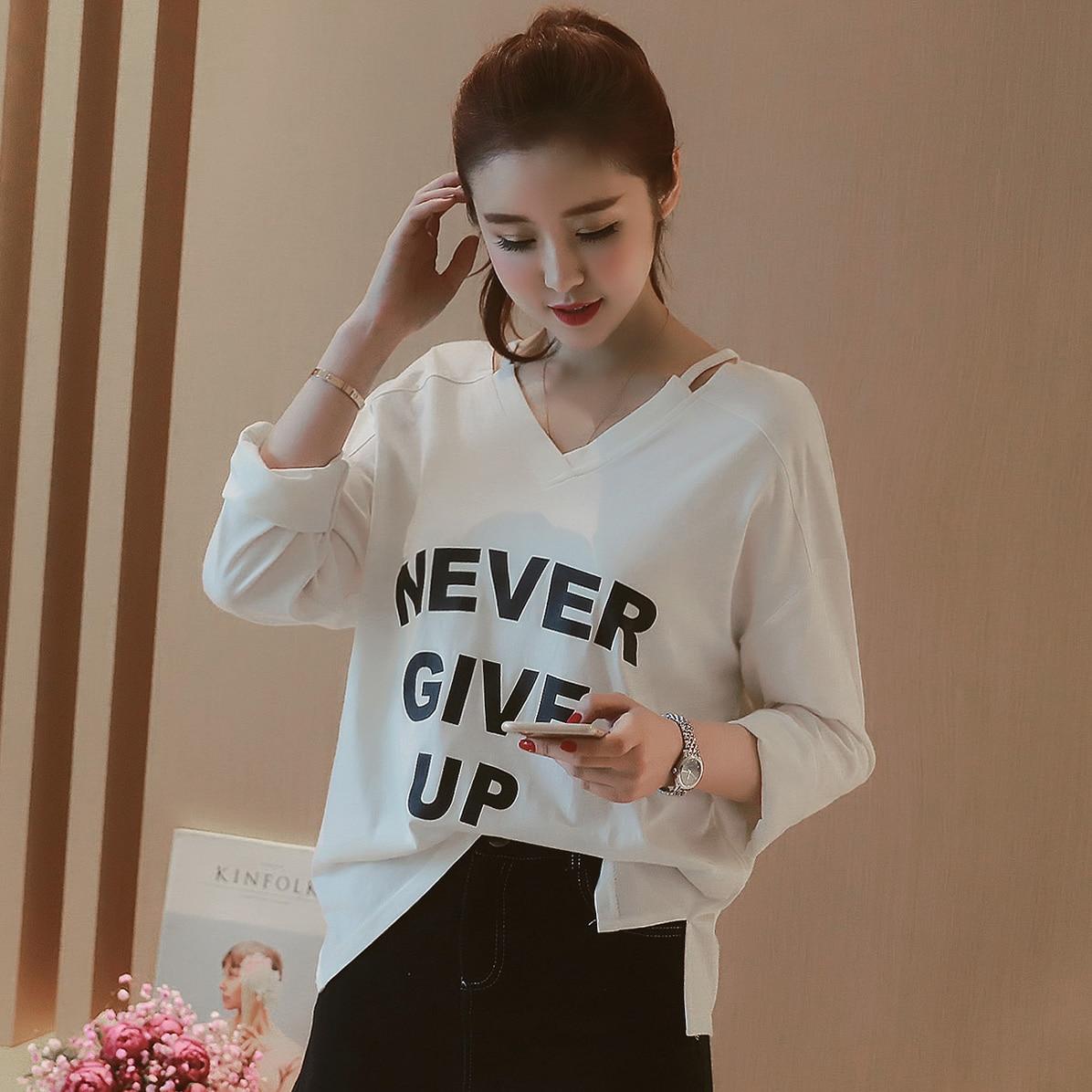 9cdf674829 2018 nueva Harajuku letra impresa camisetas de las mujeres camiseta  ocasional de las tapas mujeres ropa nunca dar hasta relajarse Casual  camiseta en ...