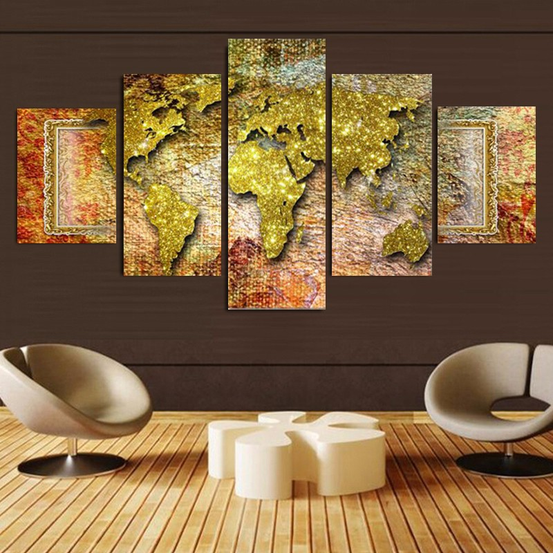 5 Piece Retro World Map Large Image Wall Painting View Modern Home Living Room Decor