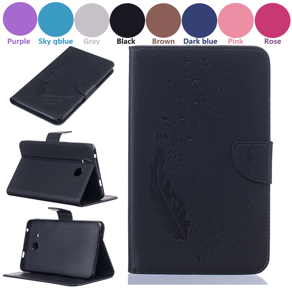 6 color feather Pattern pu Leather tablet Case For Samsung Galaxy Tab A 7.0 T280 T285 TPU Back Cover Shell Wallet Bag Card solts