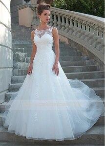 Image 2 - Chic Tulle Organza Scoop Neckline Natural Waistline A line Wedding Dress With Lace Appliques Bridal Dress vestido de novia