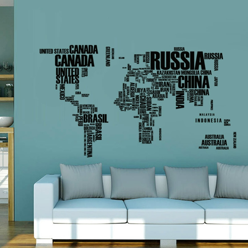 Map of the World with Country Names Spelled Out in Letters on Vinyl Stickers
