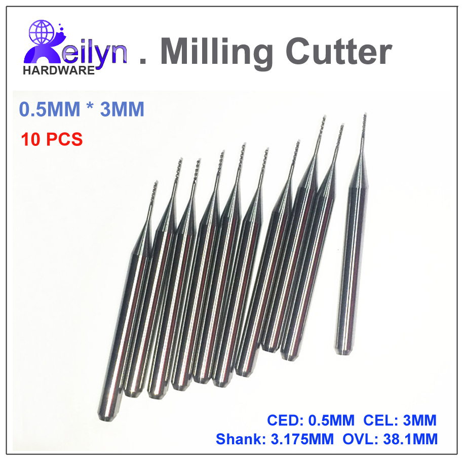 10pcs 0.5x3x3.175mm PCB milling cutter Carbide cutting tools CNC cutter mini drill bit end mill Tungsten Carbide PCB router 1pc 8 35mm good qualtiy tungsten steel carbide end mill engraving corn teeth bits cnc pcb rotary burrs milling cutter drill bit