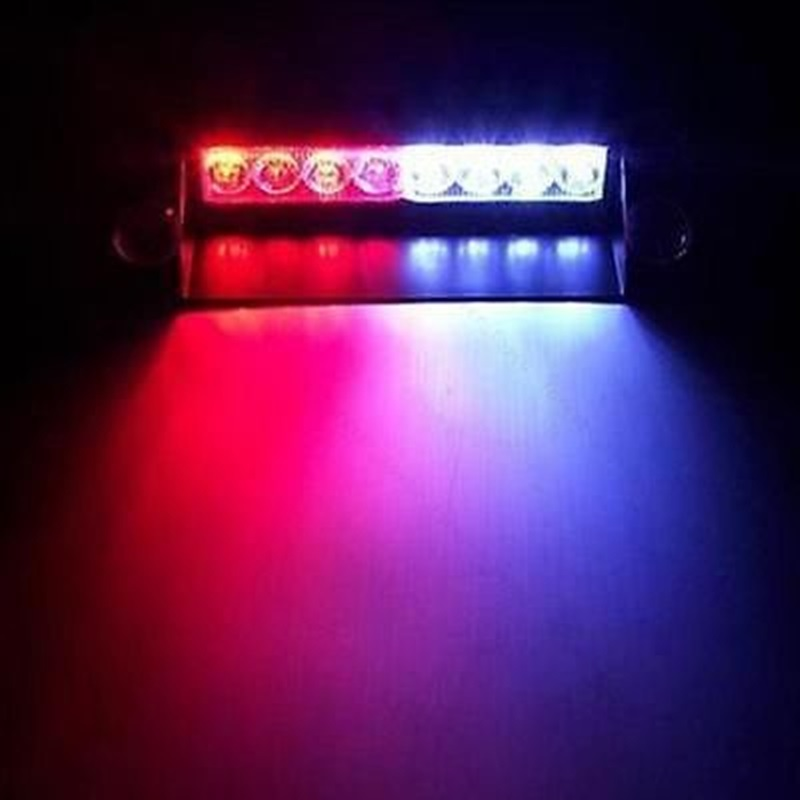Car Styling 8LED Car Boat Truck Dash Strobe Flash Light Emergency Police Warning 3 Modes Red/Blue Warning Lamps Strobe Lights