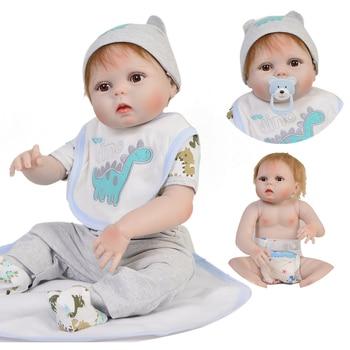23 Inch Boneca bebes reborn boy Full Body Silicone Vinyl Reborn Babies Dolls 57 cm Realistic Newborn Dolls Children fashion gift