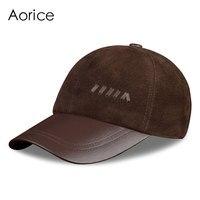 HL022 1 New Men S Genuine Bronw Nubuck Leather Hat Baseball Cap Golf Cap Camel Color