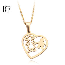 Fashion necklaces 2019 Cute Cartoon Boy Mom Family Necklace & Pendant Son Gold Love Heart Necklace Gift For Kids(China)