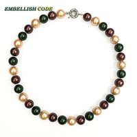 Yellow Coffee Dark Green 12mm Mixed Color Good Quality Sea Shell Mother Pearls Necklace Perfect Round