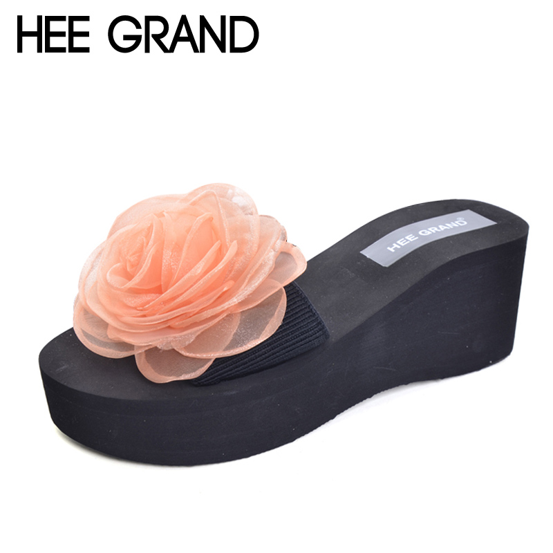 HEE GRAND Women's Slippers For Summer Floral Style Platform Wedges Casual Slip On Women Shoes Beach Slides Shoes Woman XWT637 hee grand wedges gladiator sandals summer style women ankle boots platform shoes woman slip on flat open toe women shoes xwz2583