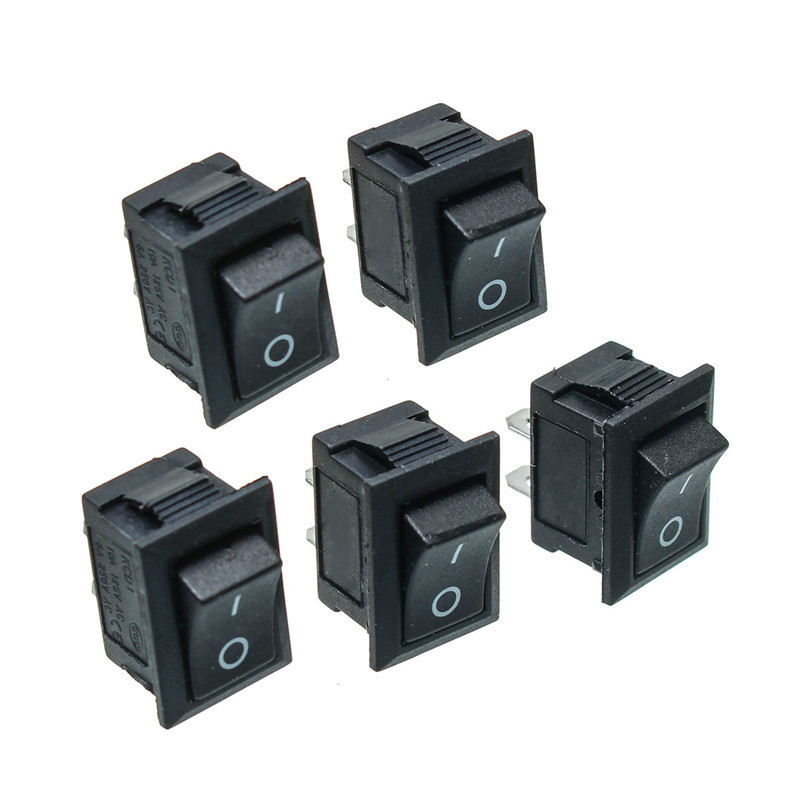 5PCS Black Push Button Mini Switch 6A-10A 250V KCD1-101 2Pin Snap-in On/Off Rocker Switch 21*15MM 5pcs black mini round 3 pin spdt on off rocker switch snap in s018y high quality