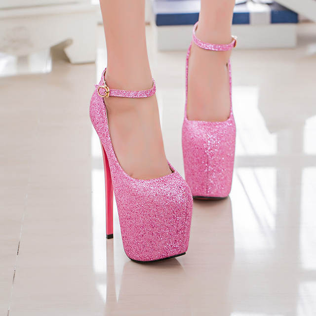 fe97b707521b Ultra High Heels(19cm) Women s Shoes Spike Heels Shallow Mouth Sexy Pumps  Sequined Party