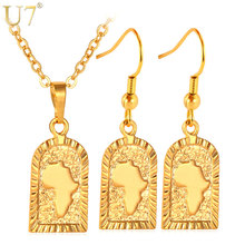 U7 African Jewelry Set Wholesale Gold Color Africa Map Party Earrings Necklace Set For Women S539