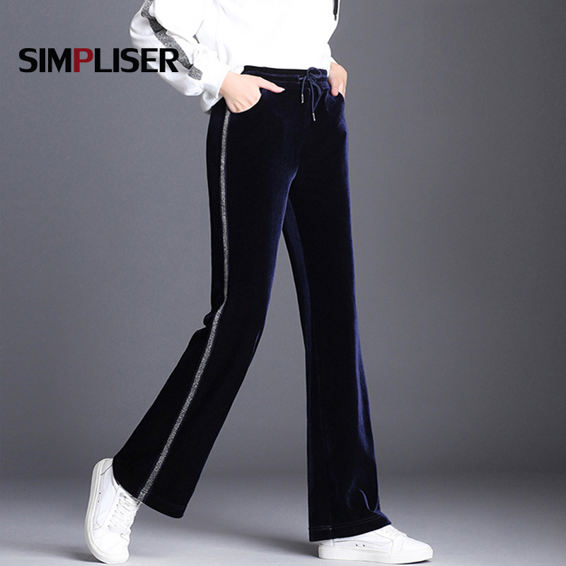Drawstring Elastic Pleuche Women   Pants   Striped Casual Women Long Trousers 2018 Winter Fashion Femme Pantalon   Wide     Leg     Pants