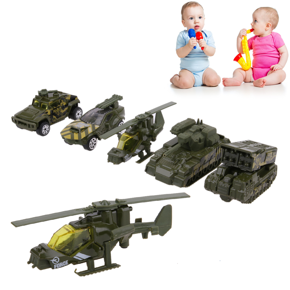 5Pcs Pull Back Car Toys 1:64 Scale Alloy Military Vehicle Car Model Kids Children Boys Car Playing Toy Gift
