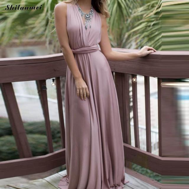 45d118cc8c 2018 Summer Sexy Dress Women Pink Beach Long Bandage Multiway Convertible  Dress DIY Wrap Robe Boho