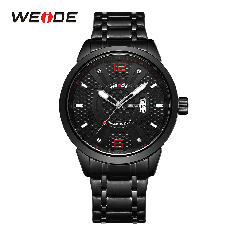 цена WEIDE Men Sports Watch Solar Energy Calendar Date Analog Digital Quartz Black Stainless Steel Band Wristwatches Montres hommes