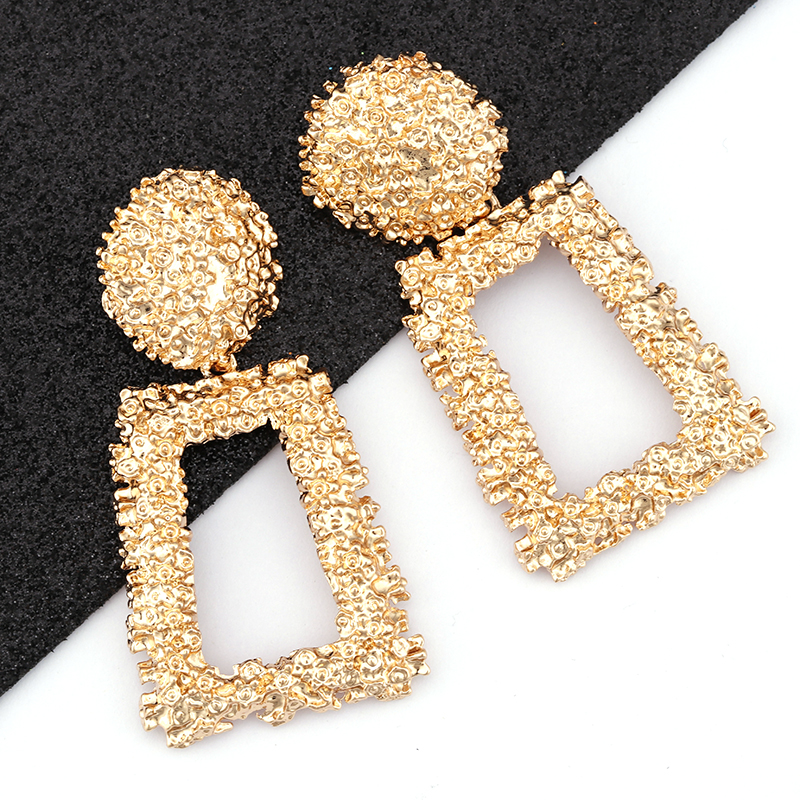 AENSOA Vintage Big Metal Drop Dangle Earrings For Women Geometric Wedding Party Jewelry Gold Large Statement Earrings 6 Colors