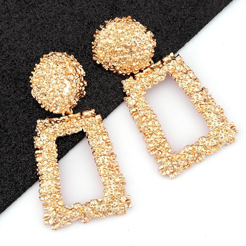 AENSOA Vintage Big Metal Drop Dangle Earrings For Women Geometric Wedding Party Jewelry Gold Large Statement Earrings 6 Colors