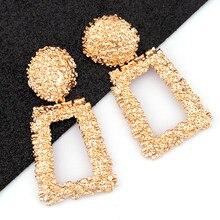 AENSOA Vintage Big Metallo Goccia Ciondola Gli Orecchini Per Le Donne Geometrica di Cerimonia Nuziale Dei Monili Del Partito di Oro Grande Dichiarazione Orecchini 6 Colori