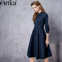Artka Women S Autumn Boho New Arrival Polo Neck 3 4 Sleeve Knee Length Dress Washing