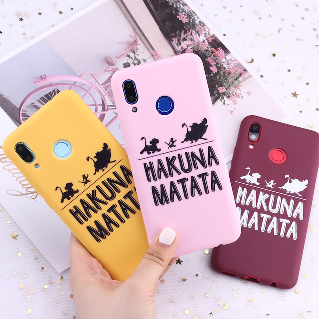 Para Xiaomi mi rojo mi nota 5 5 5 6 6 7 8 9 lite Pro Plus Hakuna Matata Rey León dulces de silicona cubierta de la caja del teléfono de la Capa Fundas Coque