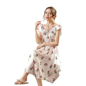 Image 2 - Ladies Nightgown Sleepwear Fashion Small Flower Women Nightgowns Printed,Hot Sale Plus Size 4XL Silk Nightwear For Summer,Autumn