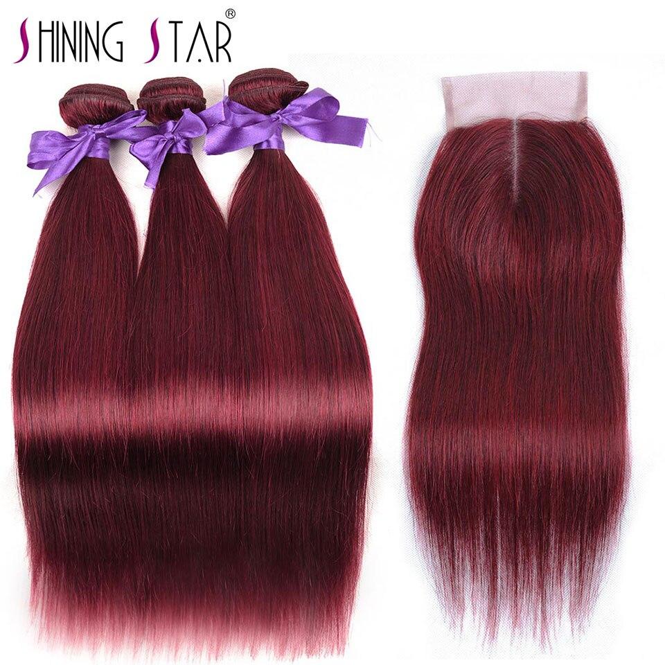 Смелый 99J бордовый бразильский прямые волосы 3 красный Связки с закрытием человеческого волоса переплетения с закрытием Nonremy Shining Star Notangle