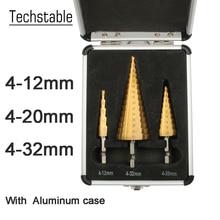 Hex Titanium Stap Cone Boor Hole Cutter 3 12 4 12 4 20 4 32mm Hss 4241 Voor Plaatwerk Staal Hout Metaal Met Aluminium Case