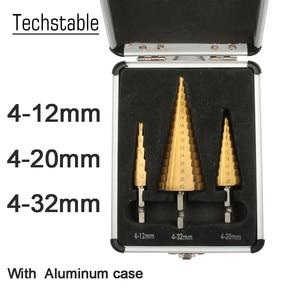 Image 1 - Hss 4241 de 4 20 4 32mm para o metal de madeira de aço da chapa metálica com caixa de alumínio hss titânio hex cortador de furo de broca de cone de passo 3 12 4 12