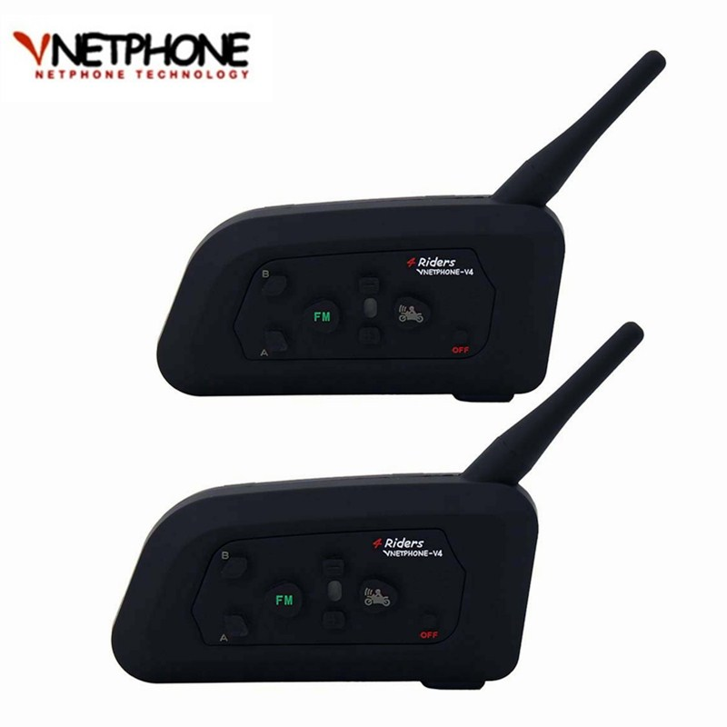 2018 2PCS V4 Bluetooth Motorcycle Intercom Interfone Helmet Headset Speaker Full Duplex Wireless Communicator Moto Helmet