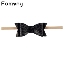 2 Pcs/lot Lovely Swallowtail Leather Bow Solid Elastic Headbands Handmade Boutique Hairband For Newborn Baby Headband