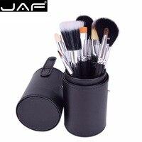 JAF 12 stks Up Kwasten Kit Studio houder Buis Foundation Oogschaduw Borstel Make up Borstels Cosmetische Gereedschap met Cilindrische doos