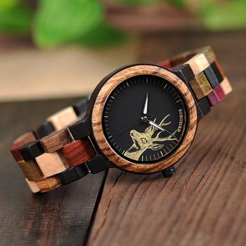 BOBO VOGEL Bamboe Houten Horloges Vrouwen Elanden Polshorloge Herten Quartz Dames Relojes Para Mujer In Geschenken Box Erkek Kol Saati