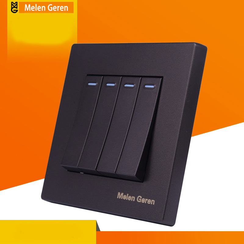 Standard Power <font><b>Switch</b></font> <font><b>4</b></font> <font><b>Gang</b></font> 2 Way Panel for Wall <font><b>Switch</b></font> Push Button Rocker <font><b>Switch</b></font> Interrupter with Indicator 16A 110V-25V image