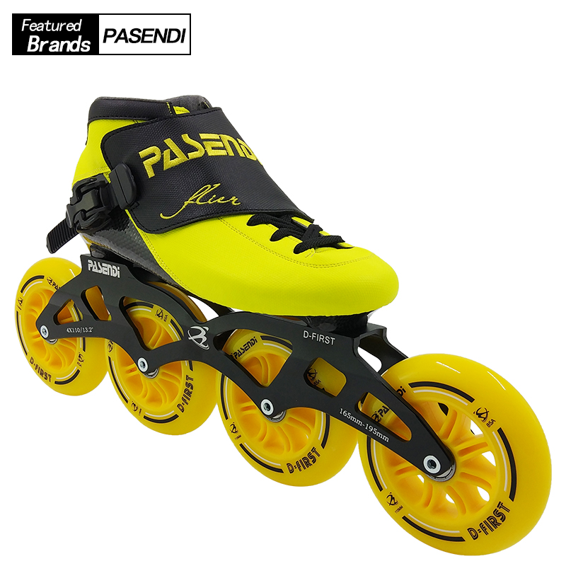 все цены на PASENDI Speed Skates Professional Women Roller Patines Men Inline Skating Shoes Adults Child Thermoplastic Boots 4 Wheels Carbon онлайн